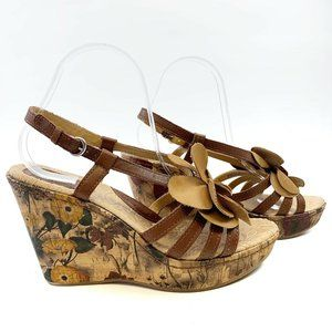 Born B.O.C. Leather Straps Floral Wedge Sandals